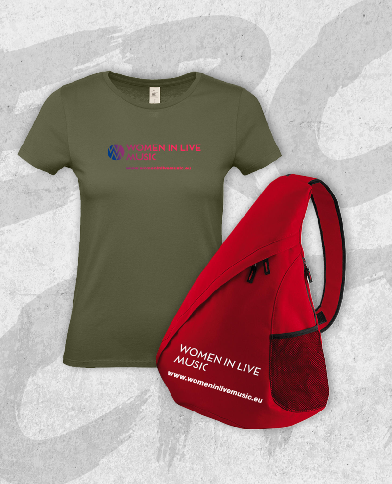 Get the t-shirt and a red shoulder bag to show the world that you are a Woman In LiveMusic