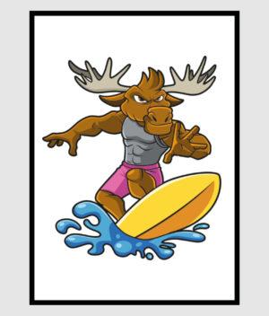 den-mandige-elg-surferelg-poster-50x70-shop