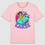 lakserytteren-tshirt-cotton-pink-lilla-tekst