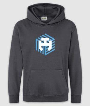 dengodk-hoodie kids-logo-storm grey-front