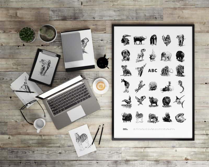 3d illustration of poster frames template, workspace mock up, ba