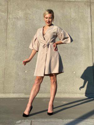 Stella Starlight Beige Wrap Dress