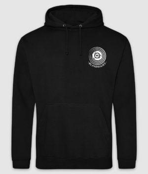 tdm-hoodie-blindsight-jet black-white print-front