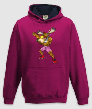 dme-thanos elg-hoodie-kids-hot pink french navy-front